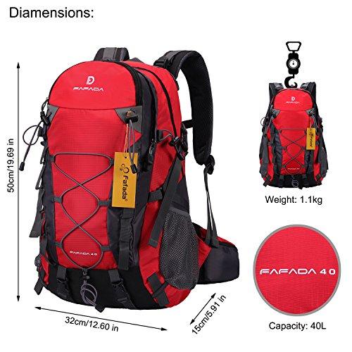 Imagen de fafada 40l unisex  de senderismo viaje marcha del deporte casual escalada trekking con cubierta de lluvia impermeable roja alternativa