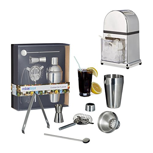 Relaxdays 6 TLG. Cocktail-Mix-Set, Eiscrusher Maschine manuell, Shaker, Barlöffel, Abseiher, Zange, Barmaß, Silber