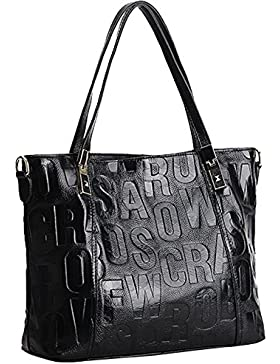 CUKKE Damen Echtes Leder Handtasche Elegant Taschen 34cm