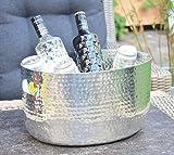 Michael Noll Champagnerkühler, Champagnerschale, Weinkühler, Sektkühler, Flaschenkühler, Alumium, Silber, XXL, Hammerschlag, 38,5 cm