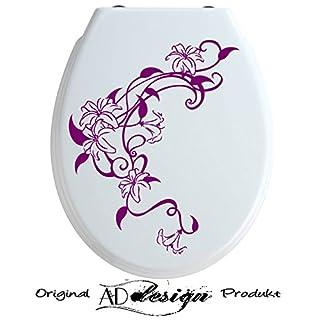 TREND DESIGN - Aufkleber für WC Toiletten Deckel ***Lilien Ranke*** (Farbauswahl)