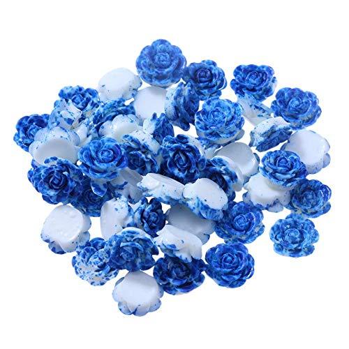 Demiawaking Cristal Perles en Strass Autocollants Accessoires de Bijoux Blanche Bricolage Colliers 50pcs / lot 13mm Résine Rose Fleur Fond Plat Bricolage Décor (Bleu)