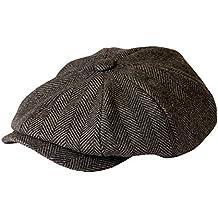 Gamble & Gunn Shelby - gorra de tela, de color gris, de Herringbone, estilo de la serie de TV Peaky Blinders