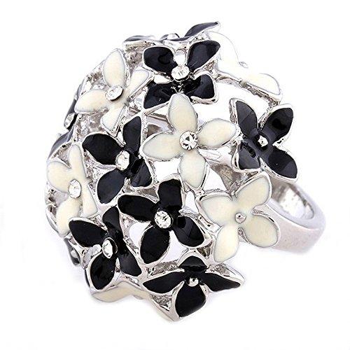 Claire Jin Schwarz und Weiß Vier-Blatt Klee Ringe für Damen Epoxid Große Blume Ring (Modeschmuck Ringe Große Blume)