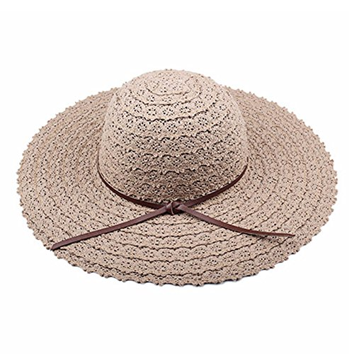 Summer Sun Hat For Women Straw Sunhats Lace Hollow Wide brimmed Hat Foldable Floppy UV Protection Beach Cap