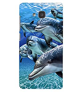 ColourCraft Lovely Dolphins Design Back Case Cover for XIAOMI REDMI 2S