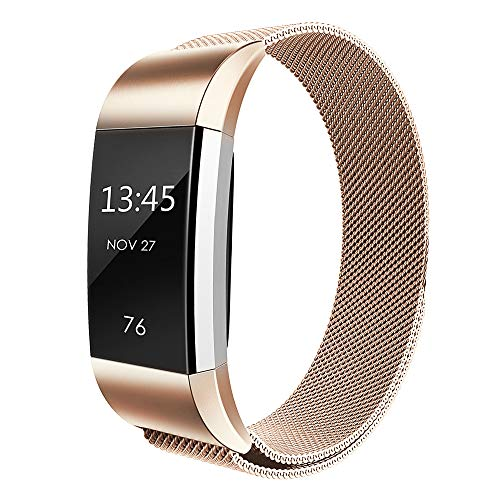 Simpeak für Fitbit Charge 2 Band, Edelstahl Ersatzband Straps Armband für Fitbit Charge 2,Klein, Roségold (7 Gold-armband Zoll)
