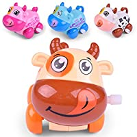 Clockwork Car Toy ,Mumustar Toddlers Childrens Cartoon Cattle Cow Toy Educational Racing Car Wind up Truck Toy