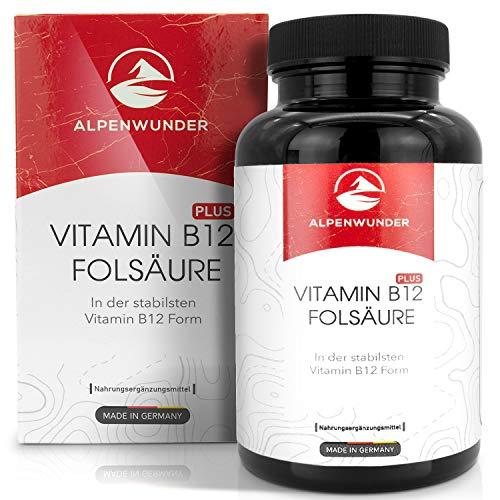 Alpenwunder Vitamin B12 Vegan Kapseln mit Folsäure, 100{1300037031fa32c023c8dbd8e8803f694804676a0070d918f49d2ddb6fc9ddc7} MADE IN GERMANY, 180 hochwertige Vitamin B12 + Folsäure Kapseln, 100{1300037031fa32c023c8dbd8e8803f694804676a0070d918f49d2ddb6fc9ddc7} Vegan, hergestellt gemäß DIN EN ISO 9001