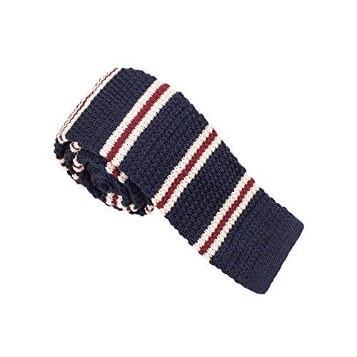 Vivente Vivo - Cravatta da uomo in maglia, a righe multicolori, stretta - blu