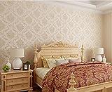 YUELA Europäische 3D-Vlies Tapete pastorale große Blüten warmen Wohnzimmer TV Hintergrund Wand selbstklebende Tapete, JA 805 (Rosa 3 Reis), Wallpaper nur
