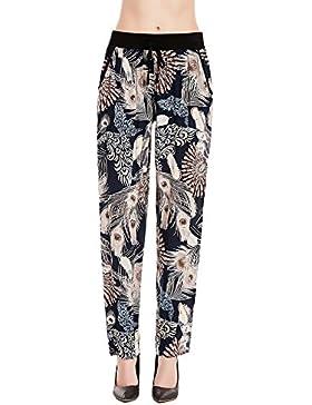 Mieuid Mujer Pantalones Verano Elegantes Fashion Vintage Flores Estampado Elástica Talle Alto Casual Lindo Chic...