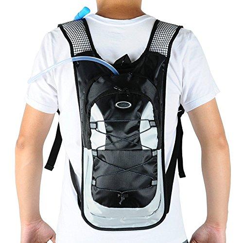 monvecle Hydration Pack Wasser Rucksack Blase Tasche Radfahren/Wandern/Klettern Beutel + 2L Trinkblase Schwarz 1
