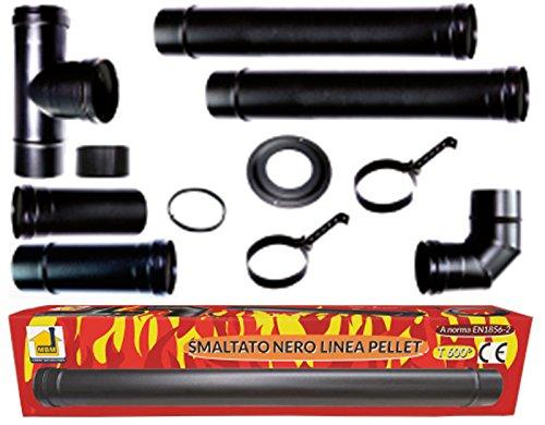 Kit Poêle à granulés tuyau 80mm. Tube Acier Noir émaillé résistants 600° ce Made in Italy aluminié porcellanata.