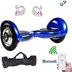 "MegaWheels 10"" Hoverboard Self-Balancing Scooter Motor 700W Patinete Eléctrico Monopatín con Bluetooth, LED y Blosa Gratis (Azul)"