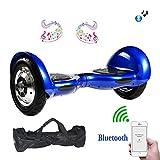 MegaWheels Self Balancing Scooter 10 Pouces avec Bluetooth, LED (Bleu)