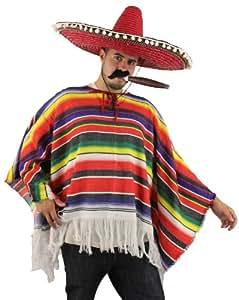 Poncho Méxicain pour adulte, Homme ou Femme, à rayures multicolores.