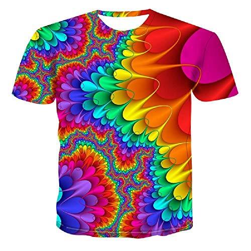 ode T-Shirt cool Druck Aurora Farbe schlank Sommer Hip-Hop Top lässig, M ()