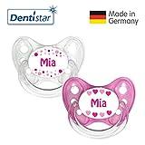 Dentistar Silikon Schnuller 2er Set inkl. 2 Schutzkappen - Nuckel Größe 1 von Geburt an, 0-6 Monate - zahnfreundlich und kiefergerecht | Mia