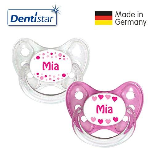 Dentistar® Silikon Schnuller 2er Set inkl. 2 Schutzkappen - Nuckel Größe 1 von Geburt an, 0-6 Monate - zahnfreundlich und kiefergerecht | Mia
