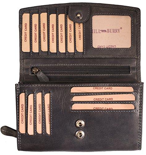 Hill Burry Damen Geldbörse   XXL Echtes Leder - Rindsleder Langes Portemonnaie (Grau)