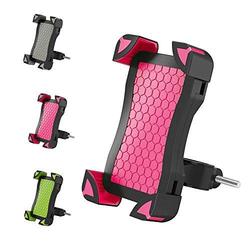 Go-smart-phone (Fahrrad Handyhalter Anti-Rutsch - Handyhalter fuer Fahrrad Universal Verstellbar Handyhalter Wiege Mit Schlossknopf Für Iphone 8,7,6,6s, 5,5s Samsung Galaxy S7 S6 Edge S5 S4,Nexus und Andere Smartphones Von 4 bis 7 Zoll Von H-Min (Rot))