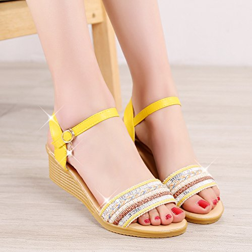 XY&GKWomen's Sommer Sandalen Frauen Heels's Heel Schuhe Frauen Schuhe 38 yellow