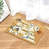 fuhuaxi Style égyptien de Bande dessinée Anubis Sphinx Pyramid Pharaoh Palace Carte Tapis de Porte Antidérapant Tapis de Salle de Bains 15.7x23.6in