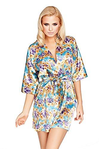 Postero PN105 - Damen Morgenmantel aus Satin - Kimono-Stil Mehrfarbig 5