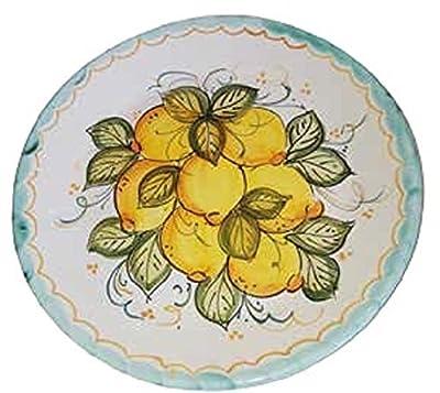 Ciotola Per Spaghettata + Piatto A Muro O Da Portata In Ceramica Artistica Vietrese Dipinti A Mano (set Di Due Pezzi) Made In Italy. Spaghettata: Diametro Cm. 45, Altezza Cm. 17; Piatto: Diametro Cm. 37, Altezza Cm. 5