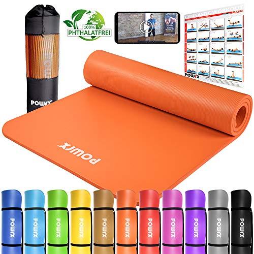 POWRX Gymnastikmatte Yogamatte Premium inkl. Trageband + Tasche + Übungsposter GRATIS I Hautfreundliche Fitnessmatte Phthalatfrei 190 x 60, 80 oder 100 x 1.5 cm I (Orange, 190 x 100 x 1.5 cm)
