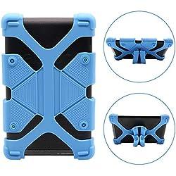 INTVN Universel Tablette PC Coque Gel Silicone,Coque Universelle réglable Extensible pour en Silicone - Support Antichoc - Réglable universellement pour tablettes 7 à 8 Pouces Bleu