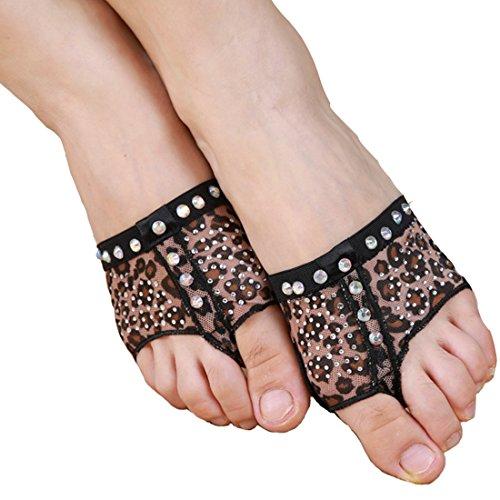 ch/Ballett Dance Socken Dance Fuß Pad Praxis Schuhe Fuß Tanga Schutz, Leopard With Diamond Crystal (Ägyptische Bauchtanz Kostüme Uk)