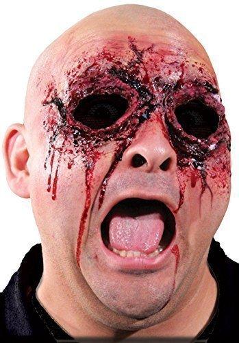 Damen Herren Halloween Blutige Zombie Spezialeffekte Latex Make-Up Kostüm Kleid Outfit Satz - Sehe Nichts Böses, One Size, ()