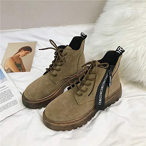 916b22dd7 Shukun Botines Botas Martin de otoño e Invierno Botas Cortas de algodón con  Suela Gruesa para Mujer Botas Cortas