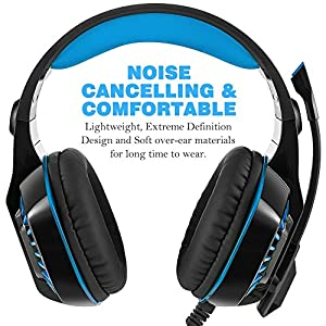 Gaming Headset for Xbox One PS4 PC, Beexcellent LED 3.5mm Noise Cancelling Stereo Game Headphones with Mic for Laptop Tablet Mac Smart Phone by Beexcellent