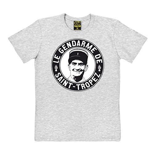 (Louis de Funes T-Shirt - Le Gendarme de Saint-Tropez - grau-meliert - Original Marke Traktor®, Größe L)