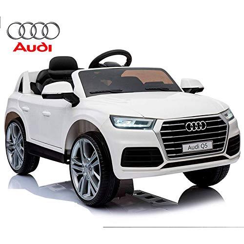 BC BABY COCHES Coche eléctrico para niños Audi Q5 de batería 12v - Licencia Oficial con Mando teledirigido de Padres 2.4Ghz (Blanco)
