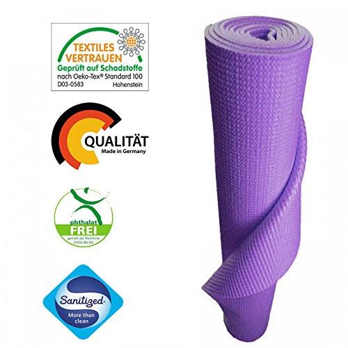 KlarGeist Yogamatte lila - kontrolliert und zertifiziert für Ihre Gesundheit - Oeko-Tex zertifiziert (Lila)