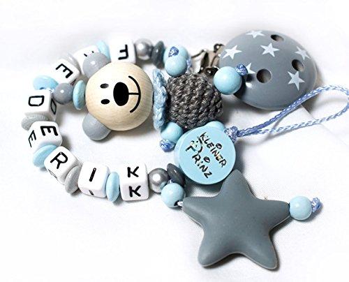 Schnullerkette Junge Blau-Grau 3D TEDDY Bär mit Wunschname Schnullerkette mit NAMEN Geschenk sililkonbeißstern (8 Teddy Bär)