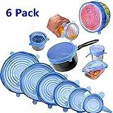 Coperchi in Silicone Estensibili, Conserva Freschi i Cibi, riutilizzabile e ermetico adattabile a diverse dimensioni e forme di contenitori - Set 6 pezzi (blu)
