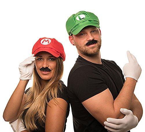 Super Mario Mütze + Luigi Mütze im Komplettset mit weißen Handschuhen und Klebe-Bärten für Erwachsene und Kinder Karneval Fasching Verkleidung Kostüm Mützen Hut Cap Herren Damen (Klempner Lustige Kostüm)