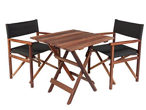 Gartenmöbel Set 'Schwarz', aus exklusivem Mahagoni Hartholz, geölt (2 XL Regiestühle und Gartentisch 70 x 70 cm), klappbar  - Tisch Mahagoni-holz Gartenmöbel