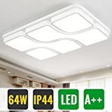 HG 64Watt Wohnzimmer Deckenleuchte Led Modern Design Kaltweiss IP44 Weiß Schlafzimmerleuchte Rechteckig Wohnraumleuchte Büros Lampe Küchenleuchte[Energieklasse A++]