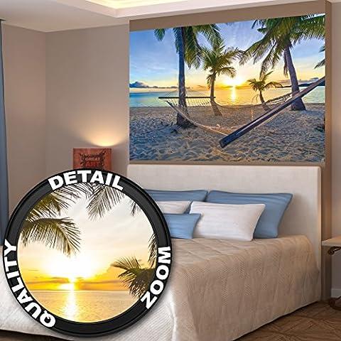 Poster Hängematte am Palm Beach vor Sonnenuntergang Wandbild Dekoration Sonne Karibik Urlaub Sommer Strand Meer Palmen | Wandposter Fotoposter Wanddeko Bild Wandgestaltung by GREAT ART (140 x 100