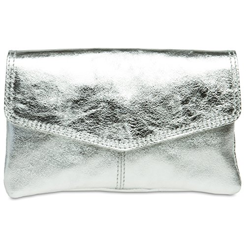 CASPAR Fashion - Borsetta senza manici donna Argento