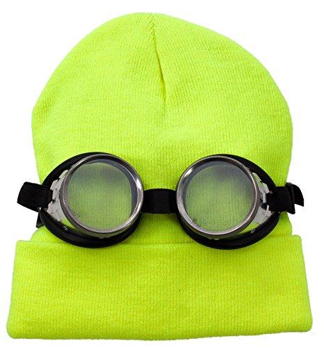 Mini-Kostüm: Karnevals-Set Schraubringbrille gelbe Strickmütze -