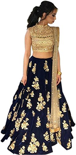 Classyfashion Women'S Georgette Anarkali Lehenga Choli (Skyperrot_Leh01_Multi-Coloured_Free Size)