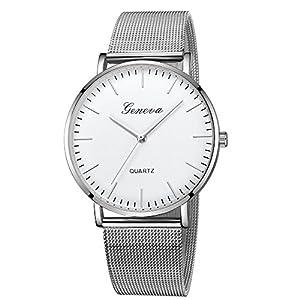 Geneva Mode Damen Herren Uhren Klassische Quarz Edelstahl Liebhaber Armbanduhr Sport Armband Groveerble