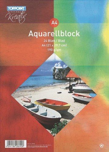 6x Aquarellblock 210x297mm DIN A4 24 Blatt 190g/m²